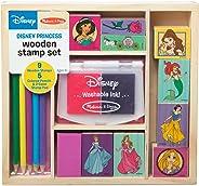 Melissa & Doug Wooden Stamp Set Disney Princesses (Arts & Crafts, Sturdy Wooden Storage Box, Washable Ink, 17 Pieces, Great