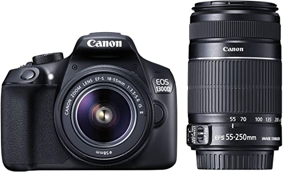 Canon EOS 1300D 18MP Digital SLR Camera  Black  with 18 55 and 55 250mm is II Lens, 16 GB Card and Carry Case Digital SLRs