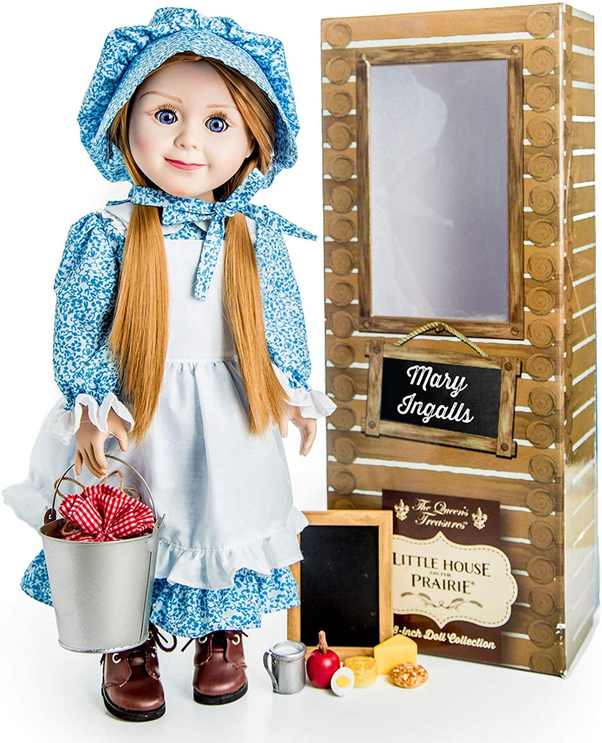 Amazon Com The Queen S Treasures Officially Licensed Little House On The Prairie Mary Ingalls 18 Inch Doll Comes With A Lunch Pail Food And Chalk Board Compatible With American Girl Toys Games
