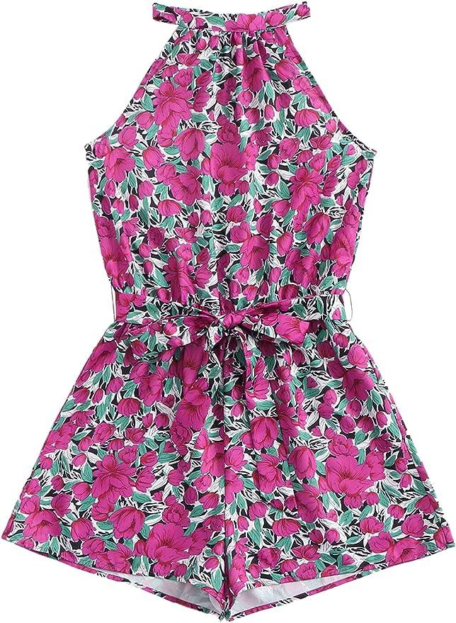 MakeMeChic Women's Sleeveless Floral Print Cut Out Back Belt Front High Waist Romper