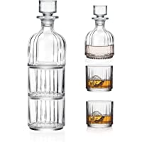 Glass 3 Pc Set - Whiskey Decanter With 2 Tumblers - Stackable - Double Old Fashioned Tumblers - DOF - Lead Free Crystal…