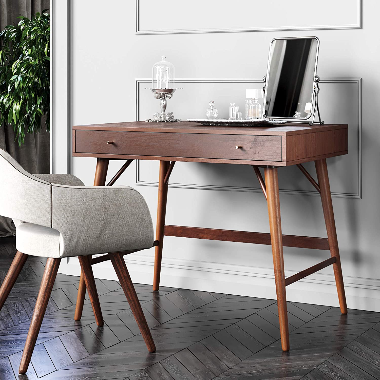 Bonny Wood Desk Mid Century Modern For Home Office Small Writing Station Amazon Ca Home Kitchen
