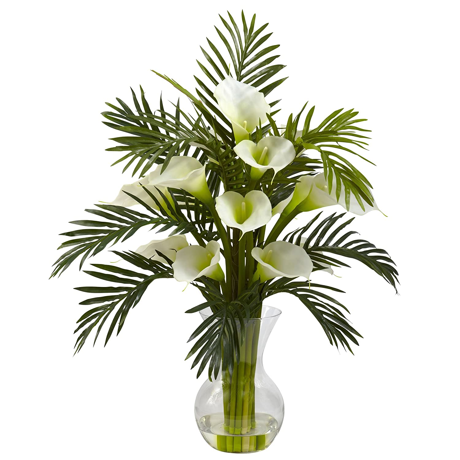 Nearly Natural 1301-CR Calla Lily and Palm Combo Plant, Cream