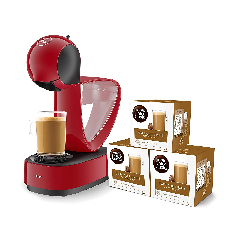 Pack Krups Dolce Gusto Infinissima KP1705 - Cafetera de cápsulas, 15 bares de presión, depósito extraible, bandeja regulable a 3 alturas, color rojo + 3 ...