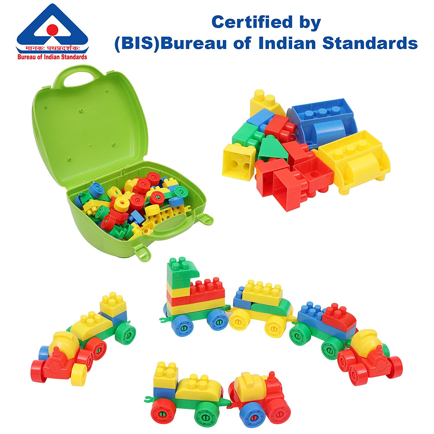 c1bb5aff753 Buy Kurtzy DIY Creative Building Block Puzzle Set Toy Multi Color for Kids  Children 58 Pcs Online at Low Prices in India - Amazon.in