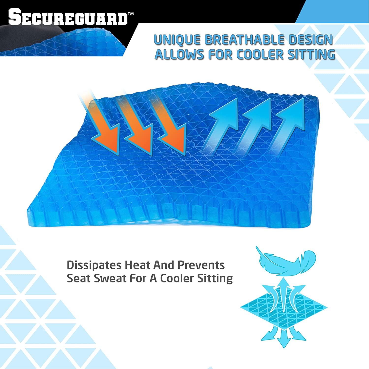 Includes Carrying Case by Secureguard Tailbone Gel Seat Cushion Durable Portable Office Chair Car Seat Cushion Supports Lower Back Promotes Circulation /& Good Sitting Posture Spine /& Hips