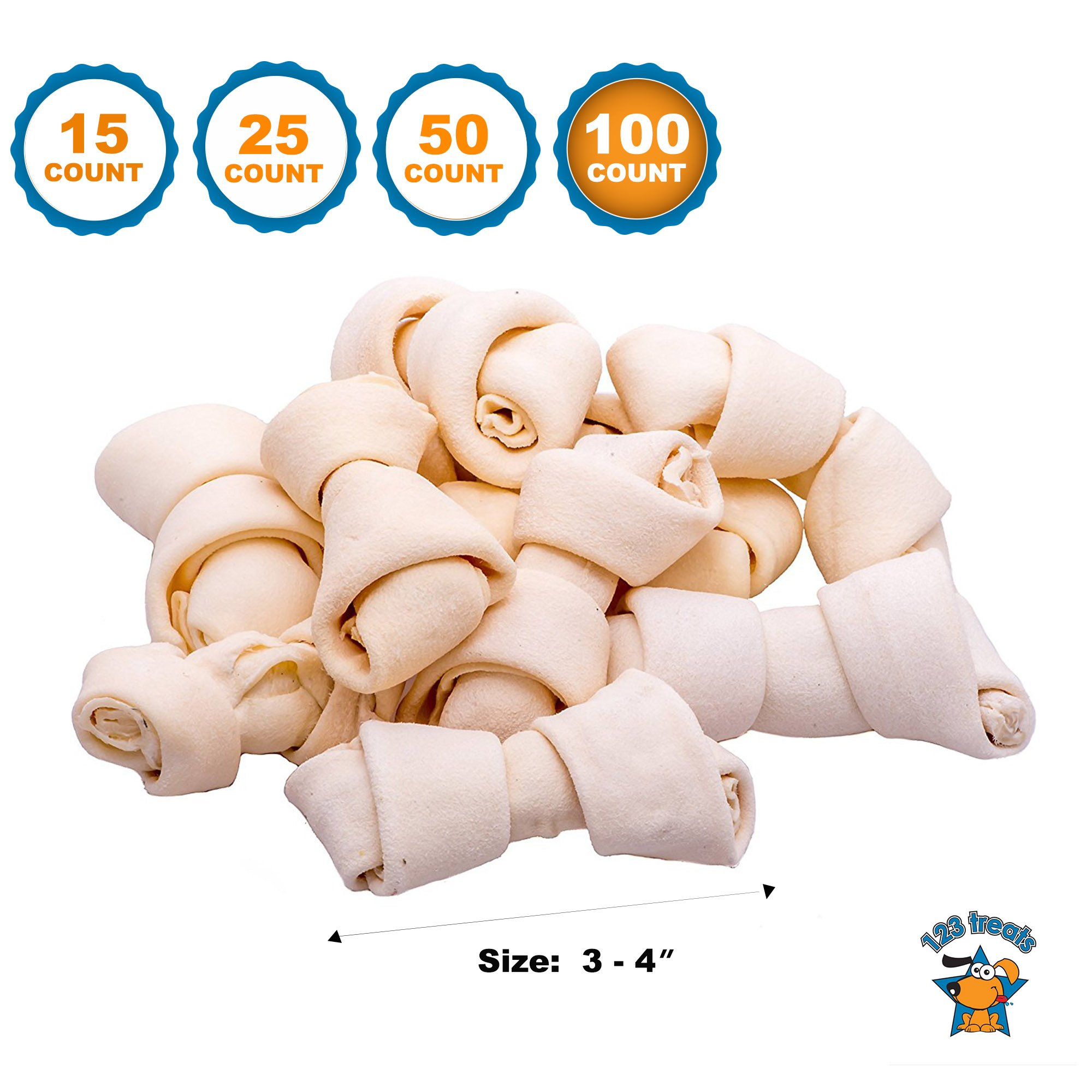 123 Treats | Rawhide Bones Chews 3-4'' (100 Count) Premium Rawhide Dog Bones | Free Range Grass Fed Cattle with No Hormones, Additives or Chemicals by 123 Treats