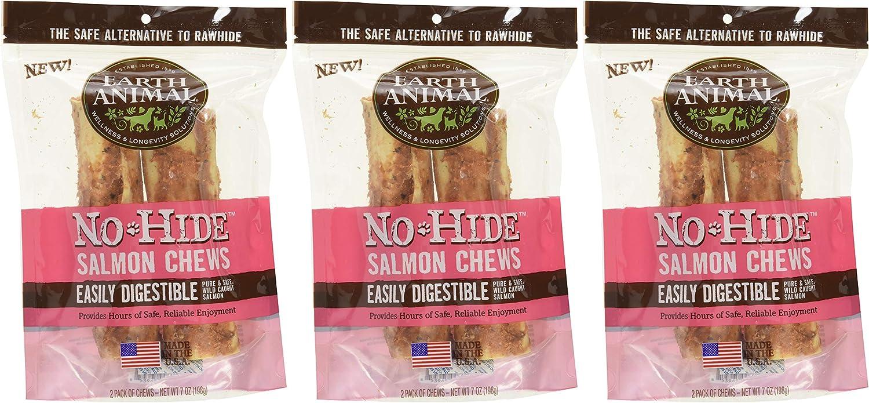 Earth Animal No-Hide Wild-Caught Salmon Medium Natural Rawhide Alternative Dog & Cat Chews, 3 2-Count Bags