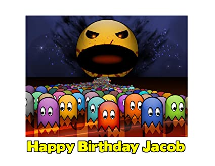 Pacman Retro Video Game Arcade Pixelated Edible Image Photo Sugar Frosting Icing Cake Topper Sheet Personalized
