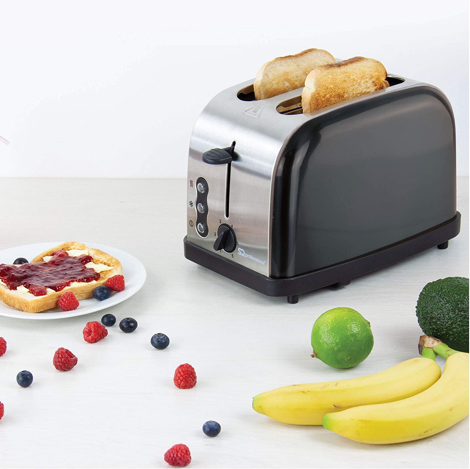 SQ Professional Breakfast Set 2pc Kettle 2200W & 2 Slice Toaster 900W (Dainty Chantilly Beige) Gems Onyx Black