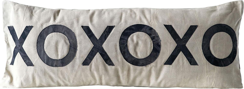 Creative Co-op Cotton XOXOXO Pillow, Black