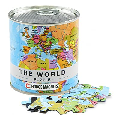 World Puzzle Magnets in premium tin can