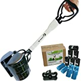 "27"" Long Handle Pooper Scooper Pack with 12 Rolls (240) of Fitted Bags and Dispenser, Heavy Duty ABS Plastic Bin & Durable Double Spring Clamp, Lightweight Design, No Assembly Required, Ready to Use"