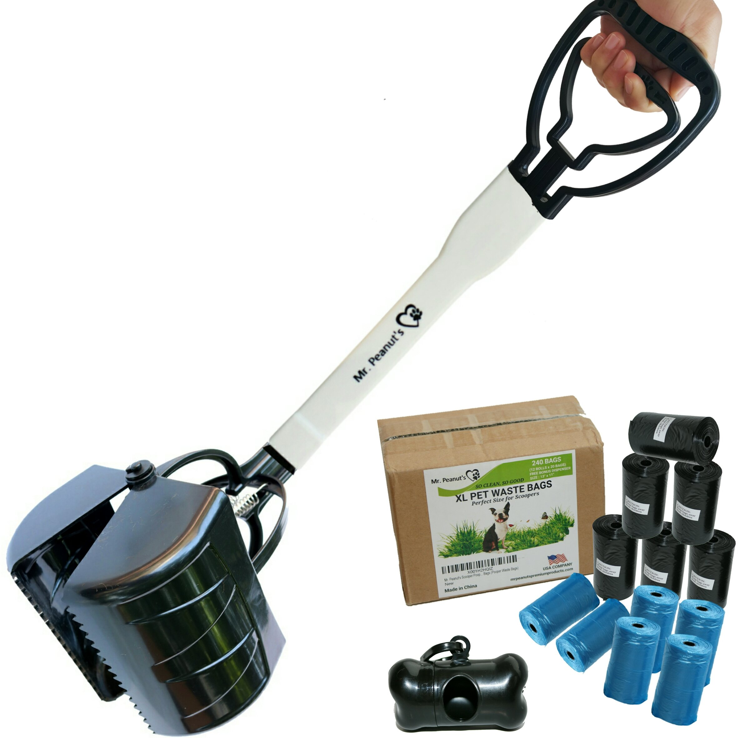 27'' Pooper Scooper Pack with 12 Rolls (240) of Fitted Bags and Dispenser, Heavy Duty ABS Plastic Bin & Durable Double Spring Clamp, Lightweight Design, No Assembly Required, Ready to Use