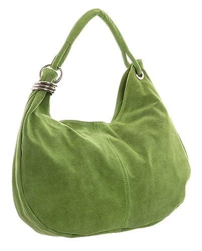 9ea94e55a272 Big Handbag Shop Women Italian Real Suede Leather Large Hobo Shoulder Bag  (Lime Green)