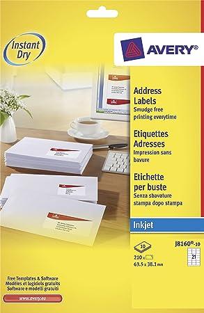 Avery J8160 100 Address Labels For Inkjet Printers 635 X 381mm