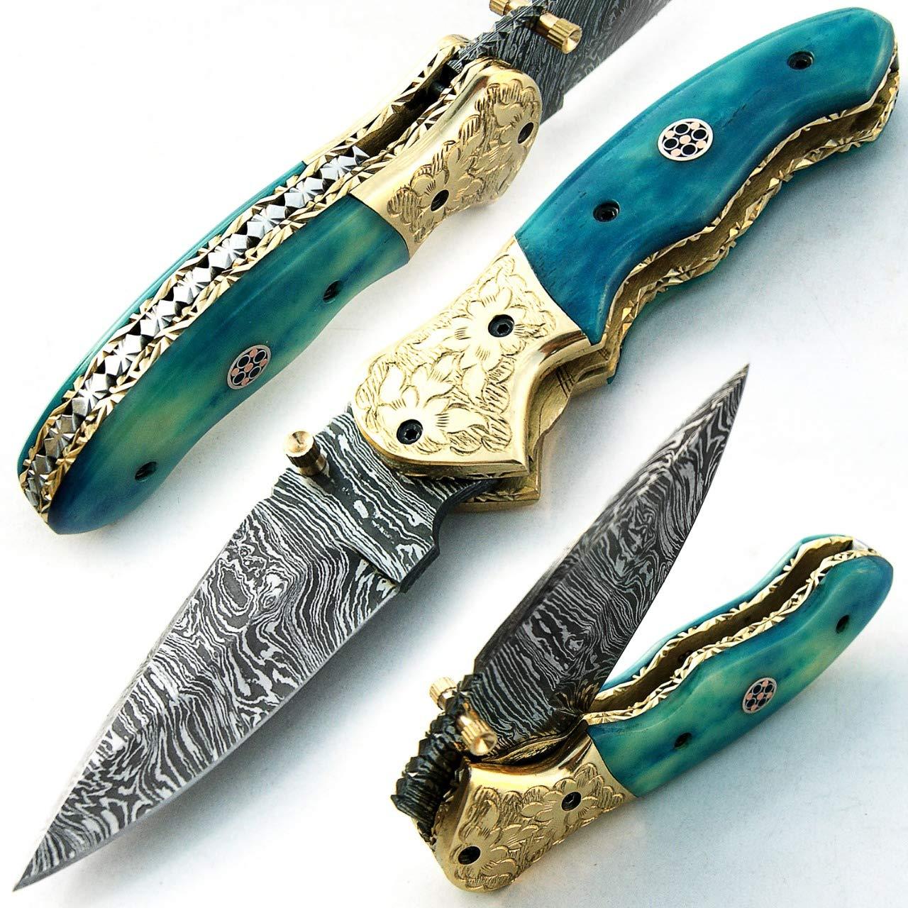 SBRM-9418 Couteau pliant lame en acier sur mesure Damas avec étui en cuir 18 CM Poignée teintée chameau billet Chef de camping Cuisine Pêche Maison jardin  -