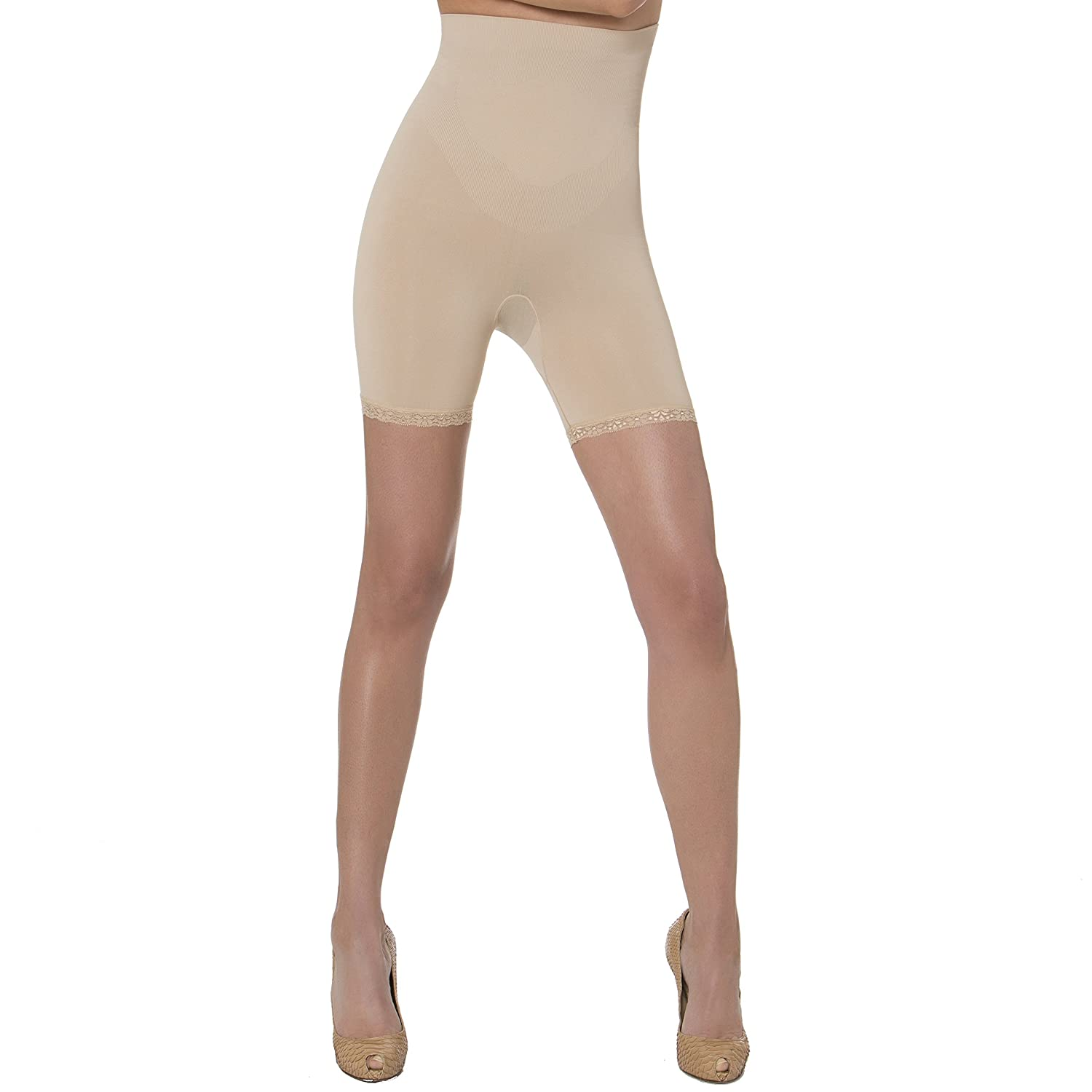 bb1554d30a N-Fini Aha Moment High Rise Anti-Cellulite Short with Lace Trim 1182 Nude -  3X-4X at Amazon Women s Clothing store