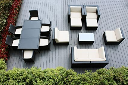 Ohana 16 Piece Outdoor Patio Furniture Sofa, Dining And Chaise Lounge Set,  Black