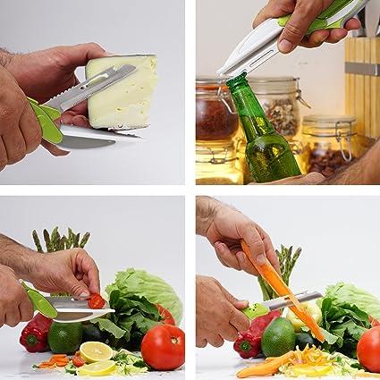 fabquality Cúter Clever cúter-Cuchillo de Cocina 2 en 1 Herramienta Slicer Dicer para Verduras Picador Cuchilla de Repuesto Plus Bonus