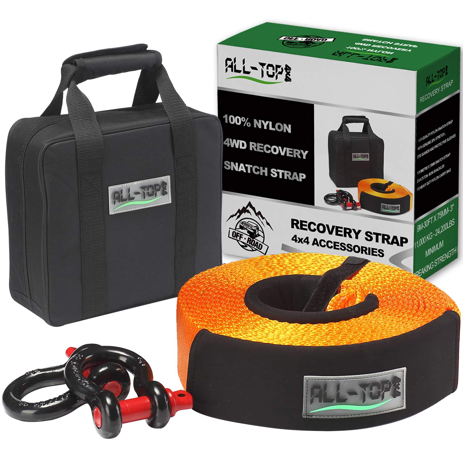 ALL-TOP Nylon Heavy Duty Tow Strap Recovery Strap Kit : 3 inch x 30 ft (32.000 lbs) 100% Nylon and 22% Elongation Snatch Strap + 3/4 Heavy Duty D Ring Shackles (2pcs) + Storage Bag by ALL-TOP
