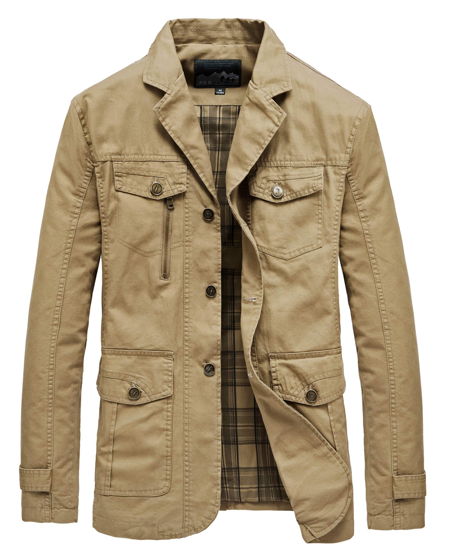 Heihuohua Men's Casual Notched Collar Cotton Jacket Lightweight Slim Fit Coat, Khaki, Medium by Heihuohua