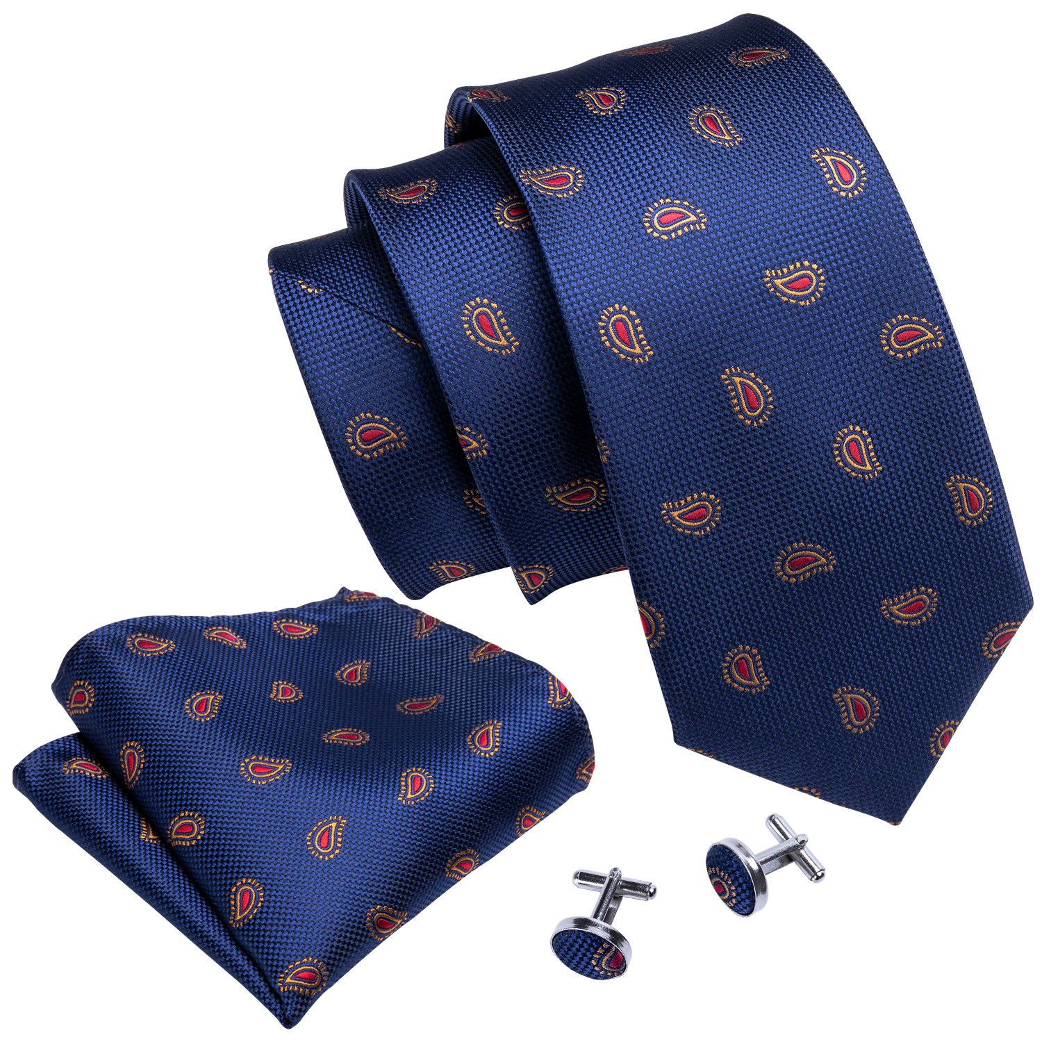 Blue and Red Tie Set Woven Paisley Handkerchief Cufflinks