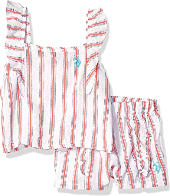 U.S and Pull-on Short Set Girls Toddler 3 Piece Tunic Jersey Tank Polo Assn