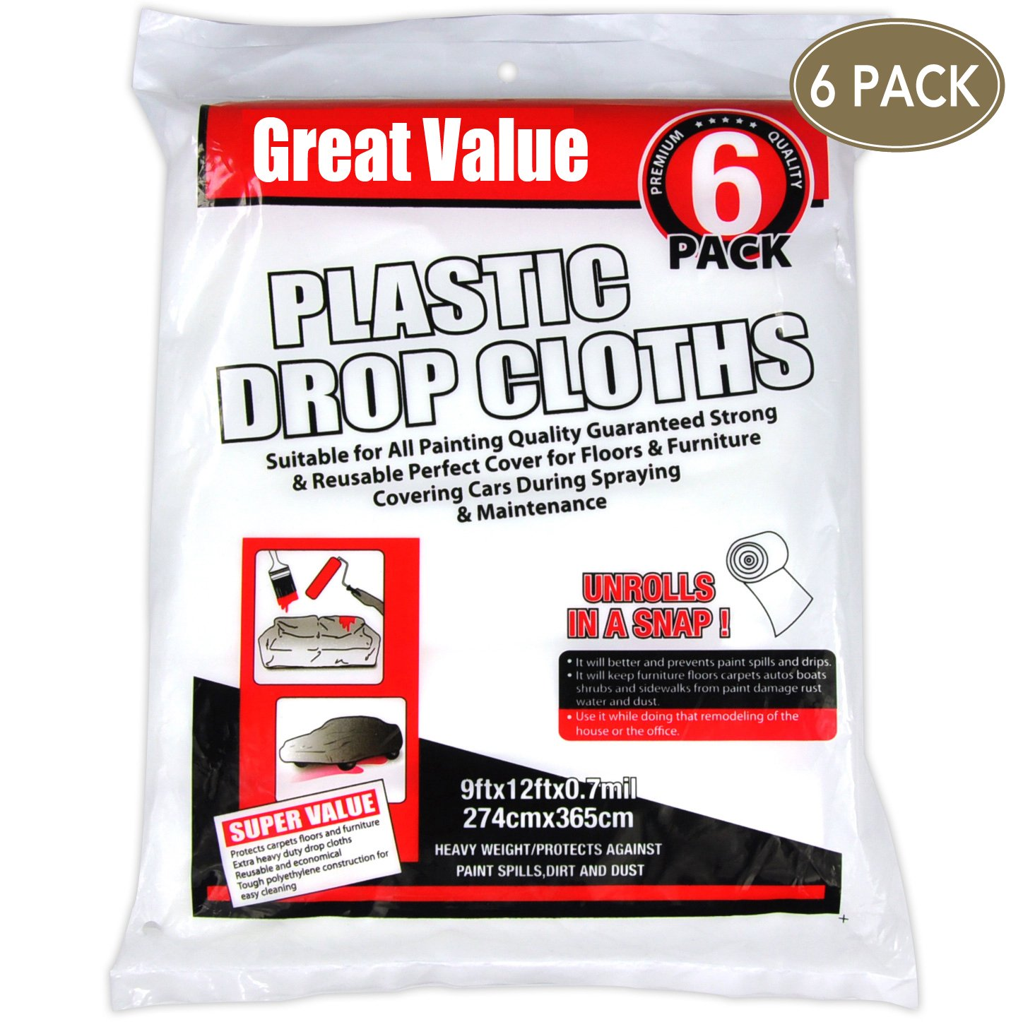 Great Value,drop cloth,6 Rolls 9x12 inch 0.7mil ,Plastic Drop Cloth,for paint roller,roller