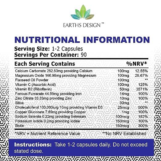 ... Magnesio, Hierro, Calcio, Biotina, Vitamina B C D3-90 Tabletas (Suministro Para 3 Meses) de Earths Design: Amazon.es: Salud y cuidado personal