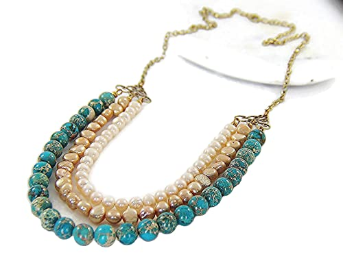Multi-Strand Necklace Jewelry Necklace Rolo Chain Necklace, Turquoise Necklace