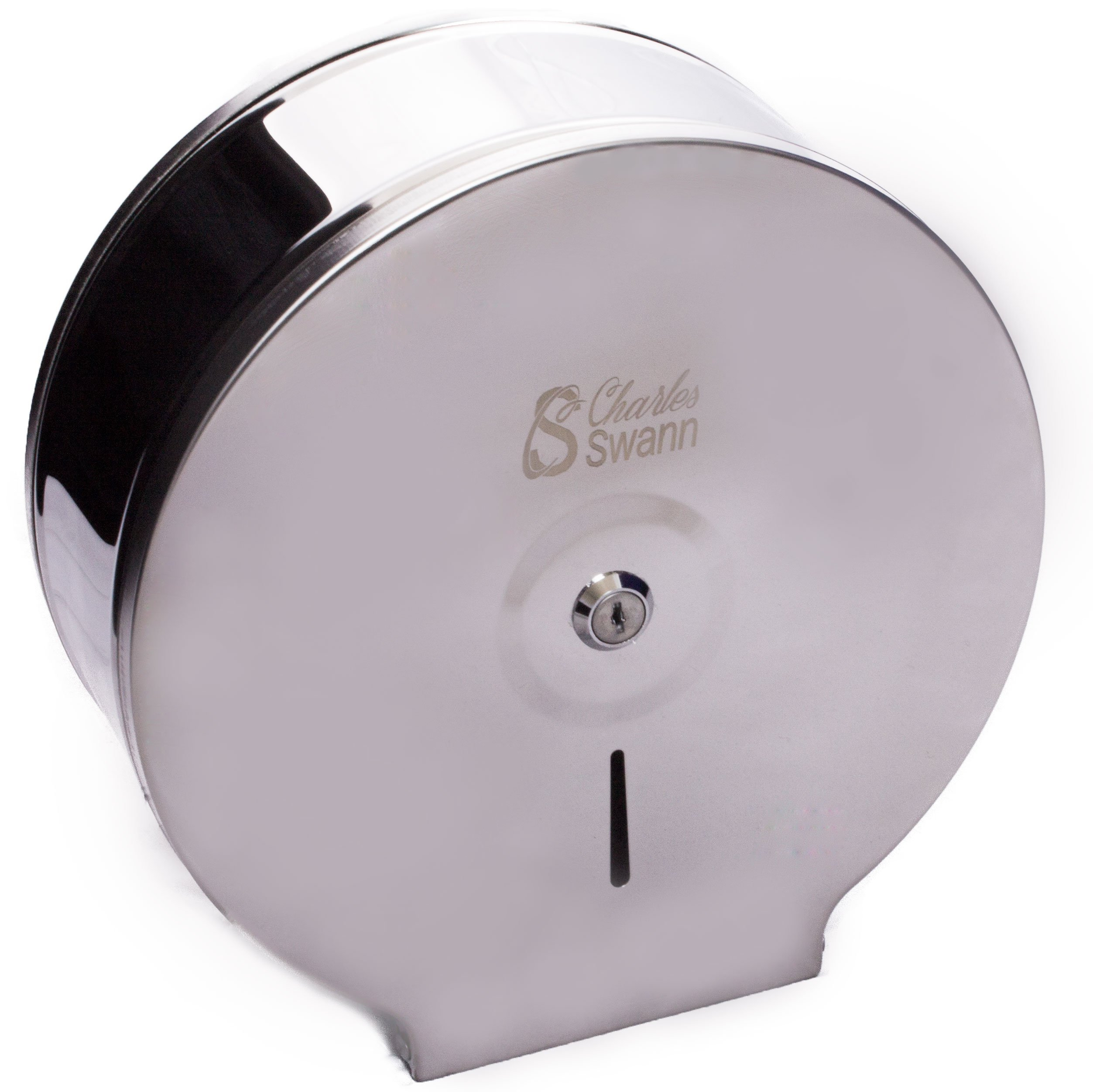 Charles Swann 9'' Commercial Stainless Steel Toilet Paper Dispenser with Forever Guarantee | Premium & Durable Jumbo Chrome Wall Mount Tissue Holder for Professional Bathroom | Hardware For Single Roll