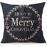 "Life365 Cotton Linen Square Throw Pillow Case Decorative Cushion Cover Pillowcase Merry Christmas Christmas Gift for Sofa 18 ""X18 ""(#6,hot)"