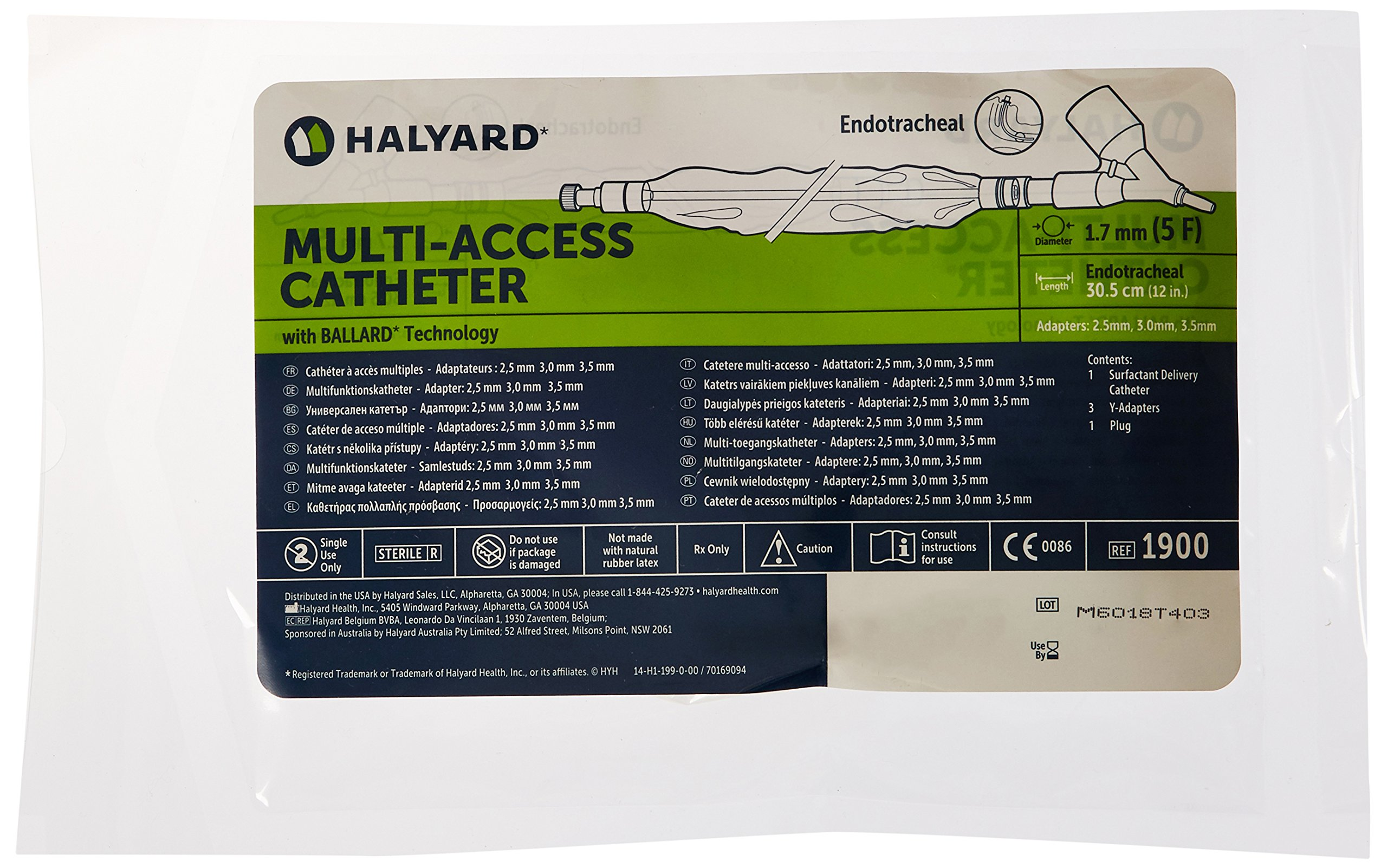Halyard Health 1900 Closed Suction Systems for Neonatal/Pediatric, 5 Fr Multi-Access Catheter, 3.0 mm, 3.5 mm, 4.0 mm Adapters, Grey (Pack of 5)