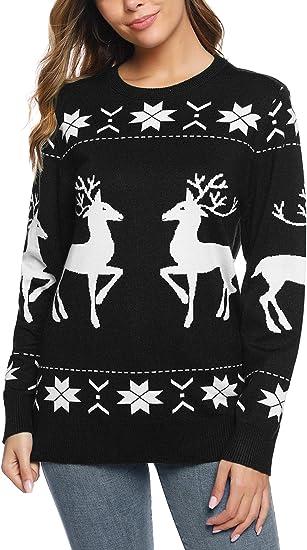 Womens Ladies Long Dress Christmas Two Reindeer Sweatshirt Jumper Top Plus Size