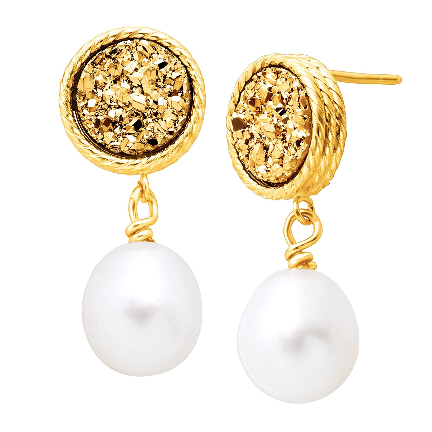Honora Freshwater Oval Cultured Pearl & Golden Druzy Drop Earrings in 10K Gold Richline Group HZE3287GLD