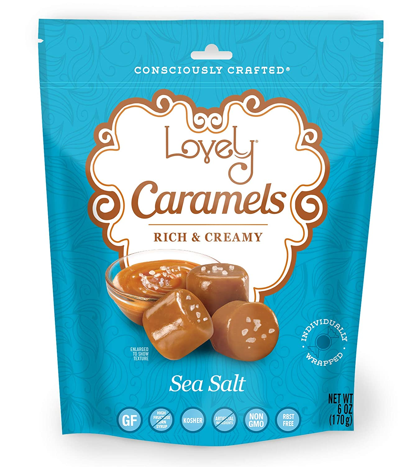 Soft and Chewy Sea Salt Caramels - Lovely Co. 6 oz. Bag - Old Fashioned Style, Authentic Caramel Candies - Non-GMO, Soy & HFCS- Free, Gluten-Free and Kosher!