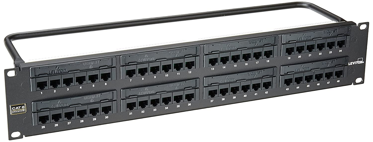 Amazon.com: Leviton 69586-U48 eXtreme 6+ Universal Patch Panel, 48-Port,  2RU, CAT 6. Cable Management Bar Included: Computers & Accessories