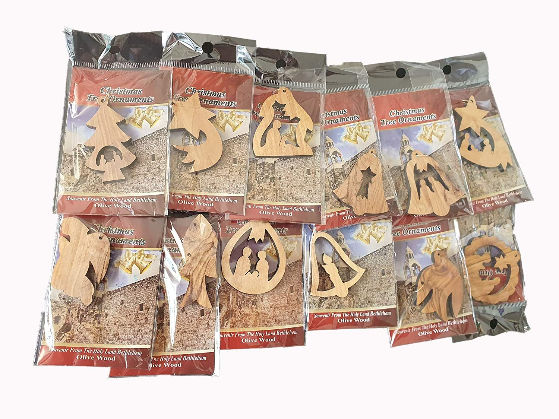 Holy Land Market Olive Wood Complete 7-Piece Christmas Bark Natural Ornament Set Nativity Story