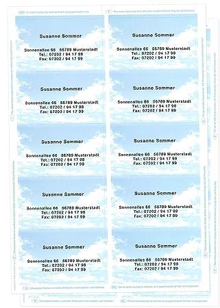 Visitenkarten Mit Ihrer Kompletten Adresse Im Wolkenmotiv 20 Stück 2 Bögen Mit Microperforierung