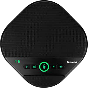Tenveo A3000 USB Speakerphone Speaker for 8-10 People Business Conference 360°Voice Pickup 4 AI Microphones USB Skype Stable USB Office Speakerphone for Skype, Zoom,Recording