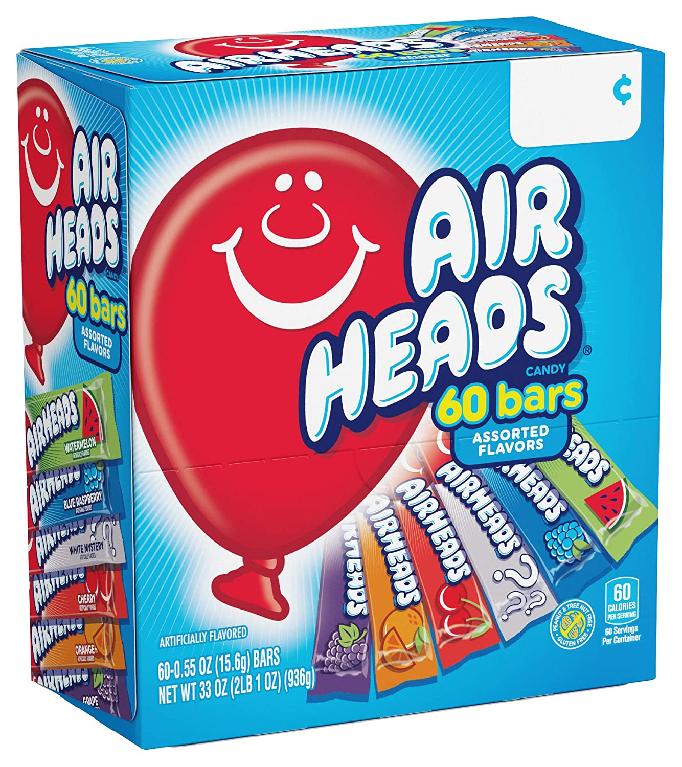 Airheads Candy Bars, Variety Bulk Box, Chewy Full Size Fruit Taffy, Gifts, Easter Candy Basket, Non Melting, Party, 60 Count (Packaging May Vary)