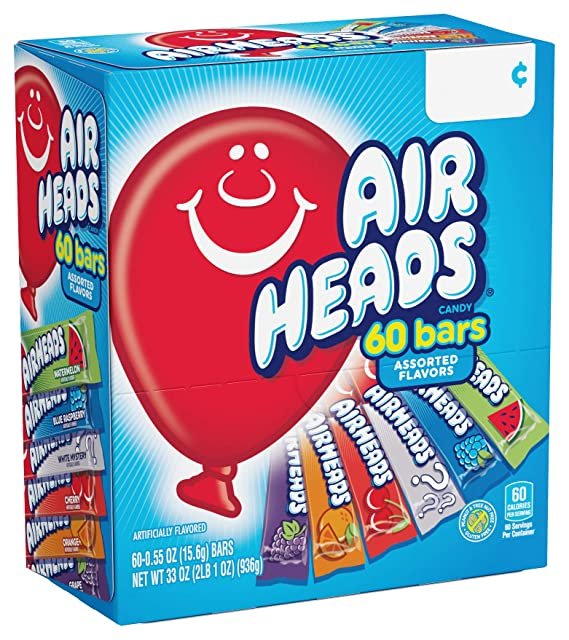 Airheads Candy Bars, Variety Bulk Box, Chewy Full Size Fruit Taffy Gifts