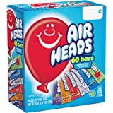 Airheads Candy Bars, Variety Bulk Box, Chewy Full Size Fruit Taffy, Gifts, Easter Candy Basket, Non Melting, Party, 60 Count