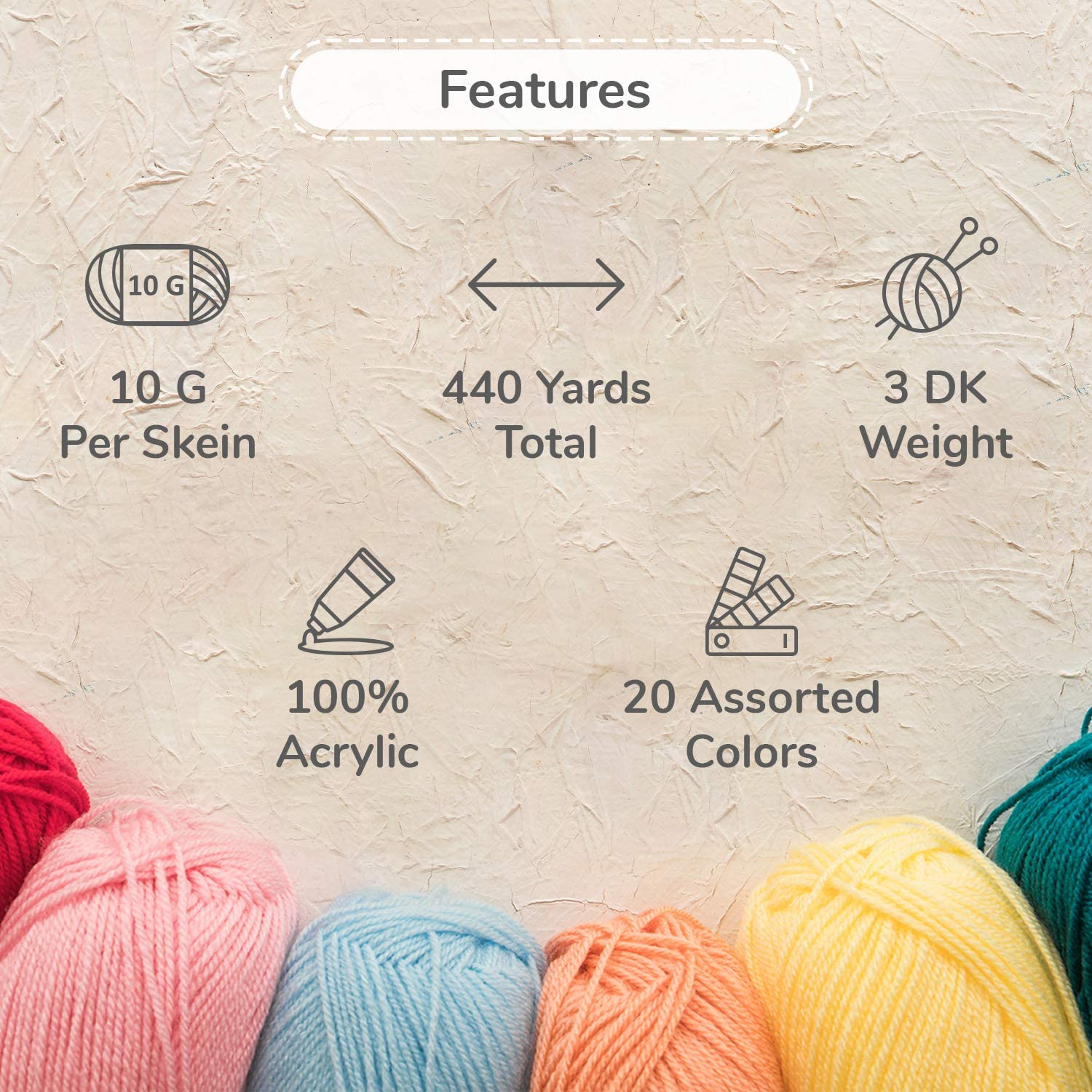 TYH Supplies 20 Skeins Bonbons Yarn Assorted Colors 100/% Acrylic by TYH Supplies