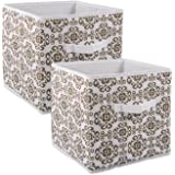 "DII Fabric Storage Bins for Nursery, Offices, & Home Organization, Containers Are Made To Fit Standard Cube Organizers (11x11x11"") Scroll Brown - Set of 2"
