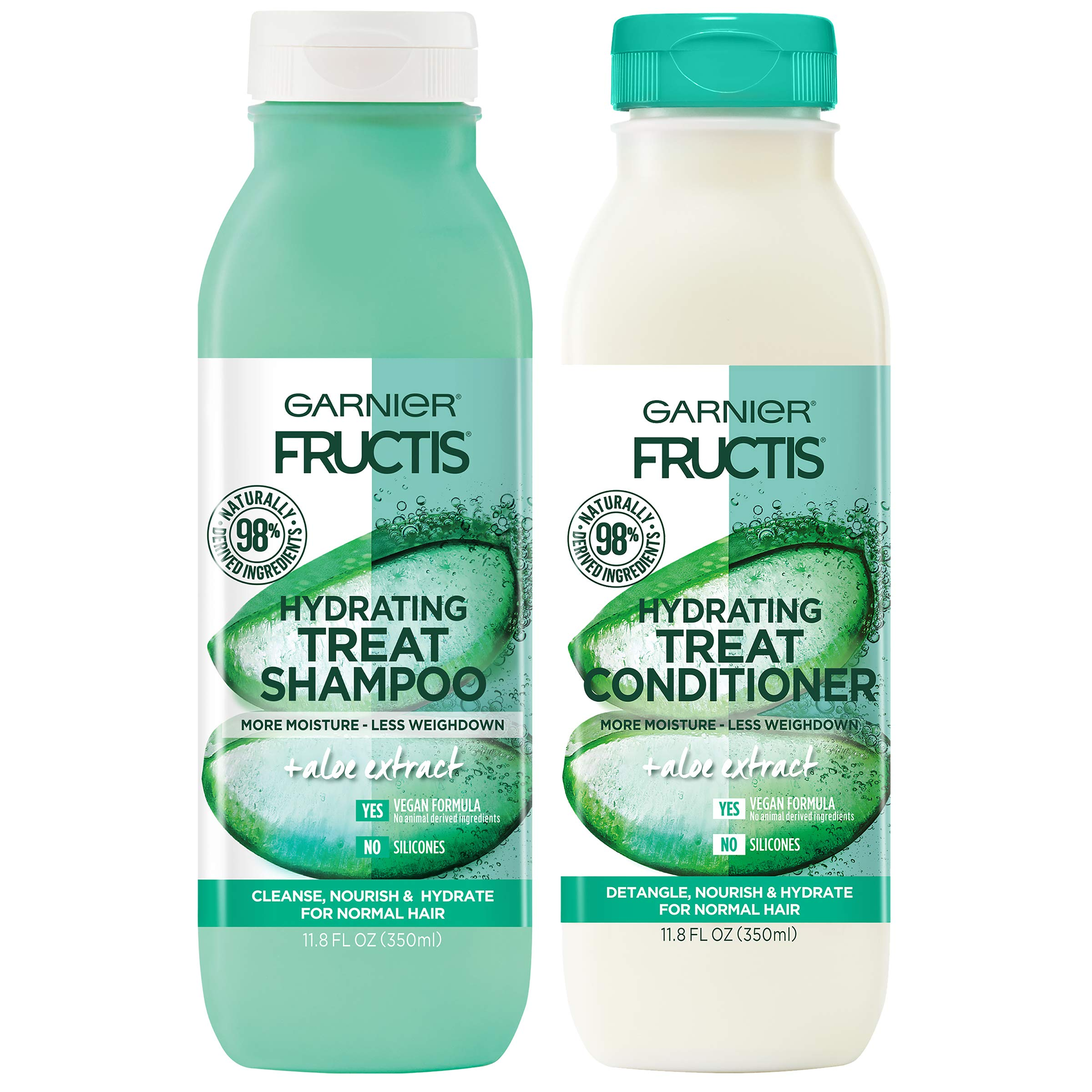 Garnier Fructis Hydrating Treat Shampoo and Conditioner, 98 Percent Naturally Derived Ingredients, Aloe, Nourish and Hydrate for Normal Hair, 11.8 oz ea