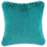 CaliTime Super Soft Throw Pillow Case Cover Plush Faux Fur 18 X 18 Inches Teal