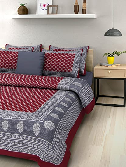 Uniqchoice 144 TC Cotton Double Bedsheet with 2 Pillow Covers - King Size, Maroon