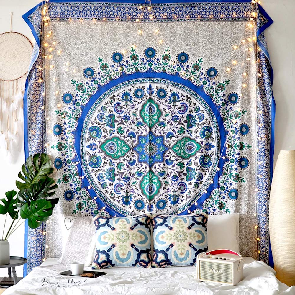 Flber Sunflower Tapestry Wall Hanging Medallion Tapestry Blue Curtain,60 Wx 80 L